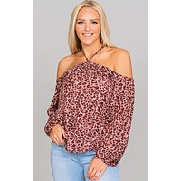 Leopard Cold Shoulder Blouse
