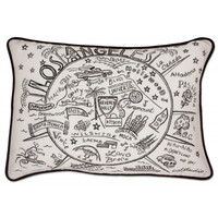 Los Angeles Black and White Embroidered Pillow