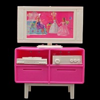 Baby Gifts Plastic Play TV Stand Cabinet 1/6 Scale For Barbie Doll's House Dollhouse Furniture