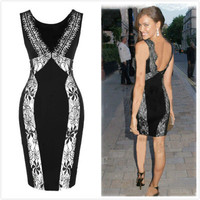 Hollow Bandage Lace Women Nightclub Clubbing Party Sexy Erotic  Pencil One Piece Dress  _ 10391