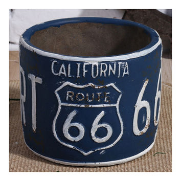 Vintage America 66 Route Car Plate Ashtray Succulent Pot   blue