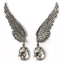 Silver Crystal Drop Angel Wing Single Ear Cuff