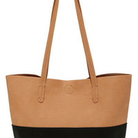Two-Toned Up Black and Tan Tote