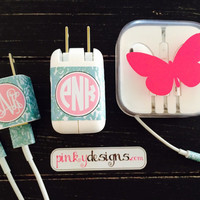 Lilly Pultizer Inspired iPhone or iPad Monogram Charger, USB and Headphone Wraps - Bungle