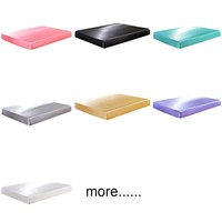 Satin Faux Silk Fitted Sheet On Elastic Solid Color Mattress Cover Elastic Band Sabanas Bajeras Queen King Bed Sheets