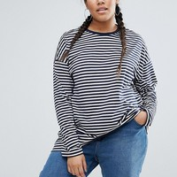 ASOS CURVE Oversized Striped Long Sleeve T-Shirt at asos.com