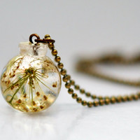 Queen Anne's Lace Resin Pendant Necklace Sphere, Flowers In Sphere, Pressed Flower Jewelry