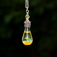 Iridescent Yellow STARS in a TEARDROP Hand Blown by Papillon9