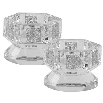 """Crystal And Silver Tealight Candle Holder  1.5""""H X 2.5""""W"""