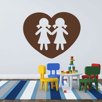 Sisters Love Heart Wall Decal
