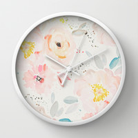 watercolor field Wall Clock by Sweet Reverie