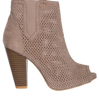Karolina Perforated Ankle Boot Heels-FINAL SALE