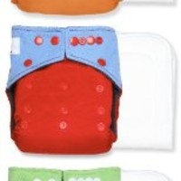 Smart Snugs Cloth Diaper 3 PACK- Bamboo Charcoal One Size Pocket Diapers (Rainbow Boy)