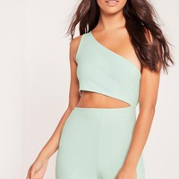 Missguided - Crepe One Shoulder Cut Out Playsuit Mint Green