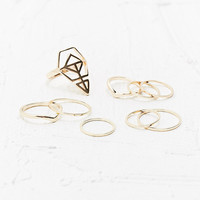 Geo Symbol and Band Multi Ring Pack in Gold - Urban Outfitters