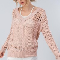 Fish Net Cable Knit Sweatshirt in Yellow
