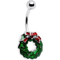 Holiday Christmas WREATH Belly Button Ring