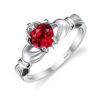 Sterling Silver Ruby CZ Claddagh Irish Ring - Promise, Friendship, & Engagement - Rhodium Plated