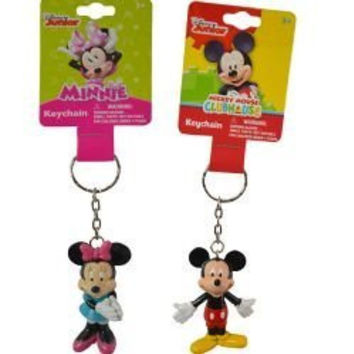 Set of 2: Mickey and Minnie Mouse 3D Keychains/Backpack Pulls Disney Junior