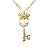 Goldtone Iced Out Crown and Key Pendant with Clear Stones and an 30 Inch Chain Necklace Jewelry Set