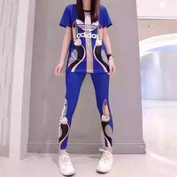 """Adidas"" Women Fashion Casual Toucan Letter Print Short Sleeve Leggings Trousers Set Two-Piece Sportswear"