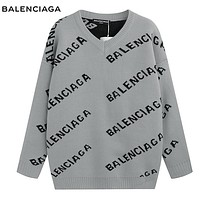 Balenciaga New fashion more letter print couple long sleeve top sweater Gray