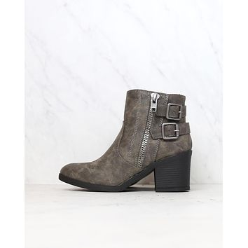 One More Dance Faux Leather Ankle Bootie with Buckle Detail in Grey