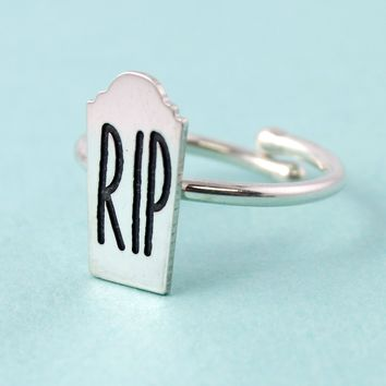 Silver Tombstone Adjustable Ring