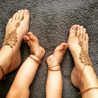 Bohemian Style Mommy and Me Barefoot Sandals, Foot Jewelry, Anklets, Boho Chick Accessories