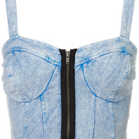Denim Zip Bralet - Jersey Tops - Clothing - Topshop USA