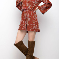 Embroidered Surprise Bell Sleeved Romper