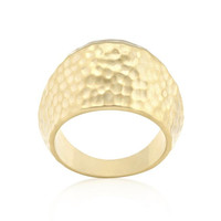 Hammered Golden Fashion Ring, size : 06