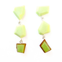 Yellow Green Earrings, Modern Geometric Earrings, Lime Green Dangle Earrings, Sterling Silver Jewelry, Colorful Earrings, Colorful Jewelry