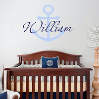 Full color Wall Decal Vinyl Sticker Decals Art Decor Design Monogram Personalized Custom Name baby Anchor Gift Nursery Bedroom (rcol52)