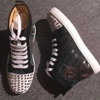 Cl Christian Louboutin Lou Spikes Style #2213 Sneakers Fashion Shoes - Best Deal Online
