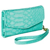 Snake Texture Cell Phone Wallet with Removable Wristlet Strap - Mint