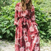 """Romance"" Wrap Maxi Dress - Burgundy"