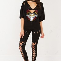 Lace Up Detailed Leggings in Black
