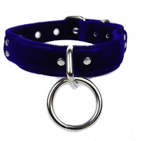 "Blue Velvet O Ring Choker 1"" Wide Real Leather"