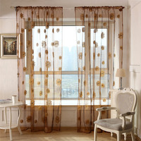 Sunflower Voile Curtain Window Screening Balcony Finished Burnout Flower Tulle Curtain for Living Room Kitchen Curtains