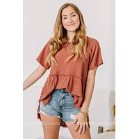 Going Through The Motions Frayed Babydoll Top