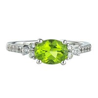 Peridot & Lab-Created White Sapphire Ring in Sterling Silver - August - Birthstones - Jewelry - Helzberg Diamonds
