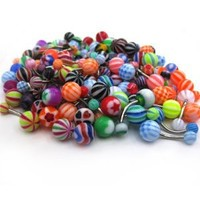 Findway 100pcs Mixed Belly Navel Button Rings Bar Barbells Ball Acrylic Steel