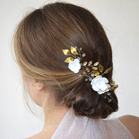 Floral hair piece, bridal hair piece, gold leaf hair comb, bridal hair comb, wedding hair comb, wedding hair pins, crystal hair pins