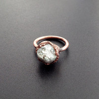 Howlite Ring - Statement Ring - Unique Ring - Copper Ring - Semiprecious Stone Ring - SIZE 6.5