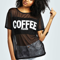 Layla Coffee Slogan Mesh Tee