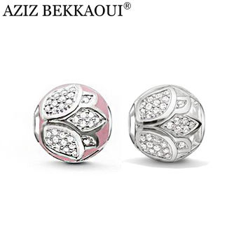 AZIZ pink lotus beads fit pandora charm bracelets crystal beads for jewelry making luxury water lily pattern charms for women