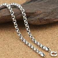 Pure Silver 3mm Thick Cross O Link Chain S925 Necklace Sweater Chain Sterling 925 Silver Jewelry