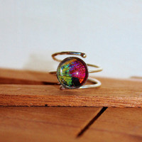 Real Sunset Moth Wing Sterling Silver Ring Size 8  Real Butterfly Wing Ring Mothers Day Cocktail Ring