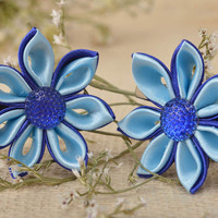 Handmade jewelry set 2 flower hair clips kanzashi flowers gifts for girls